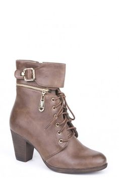 Lace Up Buckle Boots - Brown