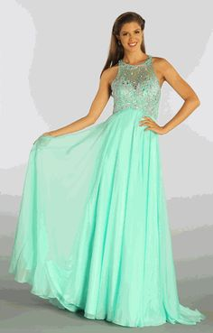 Embellished Bodice Empire Waist Evening Gown (3-colors XS - 2XL) #mint #prom #gown #discountdressup