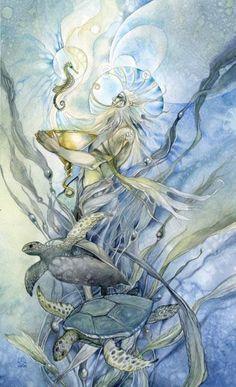 "Stephanie Pui-Mun Law - Shadowscapes Tarot - Fantasy Art ""King of Cups"" Fantasy Kunst, Fantasy Art, King Of Cups, Tarot Card Meanings, Mermaids And Mermen, Tarot Decks, Cross Stitch Designs, Faeries, Illustrators"