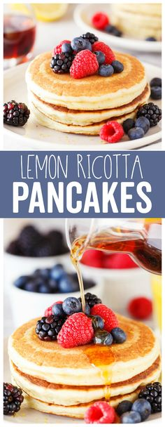 Lemon Ricotta Pancakes: a lighter breakfast pancake that is bursting with a lemon flavor! Serve with a side of scrambled eggs and fresh fruit for a delicious way to wake up! #weightwatchers