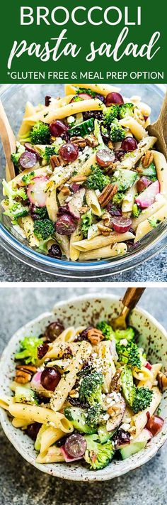 Broccoli Pasta Salad - perfect side dish for Mother's Day, Memorial Day, Fourth of July and all your weekend barbecues, cookouts, grillouts, potlucks and picnics. Best of all, packed with broccoli, grapes, pecans & creamy homemade Greek yogurt dressing. So easy to make & easy to customize with gluten free pasta. Delicious leftovers for work lunchboxes or lunch bowls #salad #broccoli #pastasalad #glutenfree #potluck #sidedish #homemade #dressing #party #barbecue #picnic