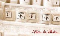 Candles drool!  Astier de Villatte, founded by Benoît Astier de Villatte and Ivan Pericoli. Starting with black Terracotta, each piece is wonderfully finished with a milky glaze that amplifies the unique characteristics of the clay used.