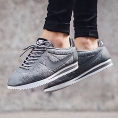 out now!  Nike Wmns Classic Cortez  FLEECE PACK 'Tumbled Grey/Black-White'  available now @titoloshop