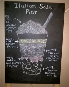 Italian Soda Bar Chalkboard I did for my friends wedding reception ❤  Artist Credit: Valerie Johnston R.