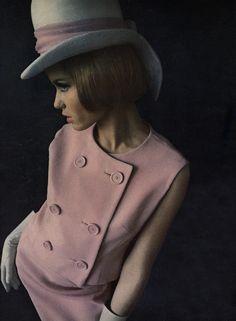 """Balenciaga's """"moss-rose pink"""" at-home robe Photographed by Frances McLaughlin, Vogue, November 15, 1952"""