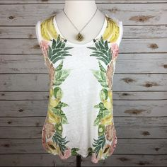 "[J. Crew] Fruit Salad Linen Swing Tank Summer Prep Light and airy linen tank from J. Crew (retail). Fun tropical fruit pattern. Scoop neck. Curved hem. Shorter length. Perfect for summer!   Fabric: 100% Linen  Bust: 18"" Length: 22"" Condition: EUC. No flaws.  No Trades! J. Crew Tops Tank Tops"