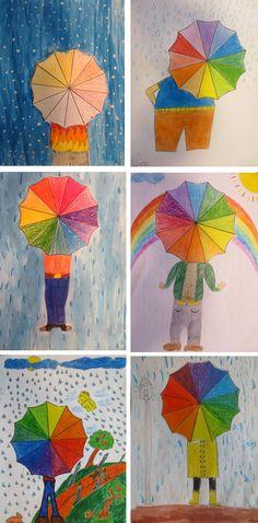 ✩ Check out this list of creative present ideas for beard lovers Arte Elemental, Spring Art Projects, Jr Art, 3rd Grade Art, Umbrella Art, Ecole Art, Art Lessons Elementary, Winter Art, Expo