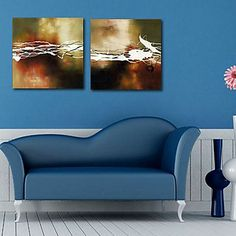 Stretched Canvas Print Art Abstract Floating Set of 2 – USD $ 59.99