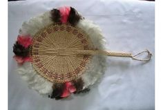 Woven Fan with White, Pink and Brown Feathers - Tuvalu