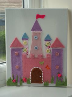 Fairy Princess Castle, Princess Deocration,Felt Picture.New Baby Gift,Personalised,Christening Gift,First Birthday Gift on Etsy
