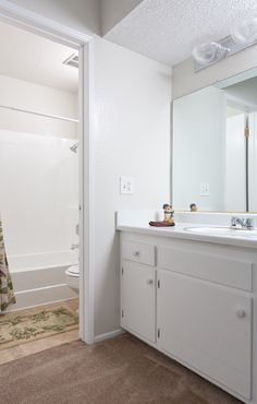 Plenty of bathroom storage at COUNTRYWOOD APARTMENTS IN REDLANDS, CA  #AMCLiving #LiveHappy #ApartmentIdeas #ApartmentsDecor #Apartmentliving #home #dreamhome #renovate #renovations