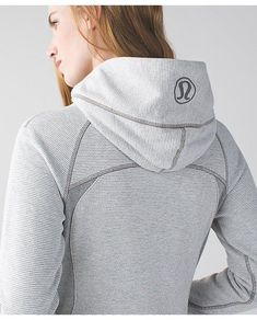 Have: Lululemon Scub  Have: Lululemon Scuba Hoodie III wee stripe white heathered medium grey/heathered medium grey: