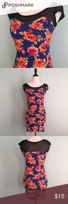 Floral Bandage Dress Blue bandage dress with orange and red flowers. Mesh top. Size small from forever 21. Tight fitting and soft. Forever 21 Dresses