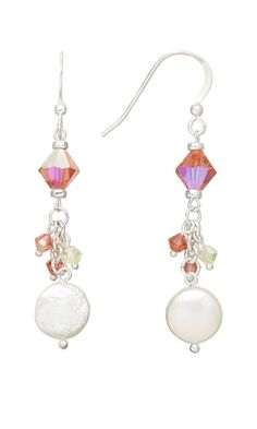 Earrings with Swarovski® Crystal Beads and Cultured Freshwater Pearl Beads - Fire Mountain Gems and Beads