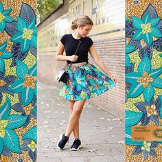 CONNOISSEUR OF STYLE | Our colleague Noortje's oufit shows how just a little piece of Vlisco can add so much colour to your everyday outfit! For this fashionable look Noortje used a Super-wax from the Bloom collection. You can find this fabric in our Online Store www.vlisco.com (VL061530)!