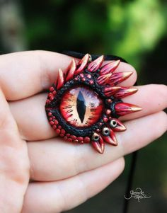 Lava dragon eye pendant - fantasy necklace - Drogon - black dragon - ooak - polymer clay - dragon jewelry - targaryen pendant - magic animal - fimo art - hadmade by GloriosaArt
