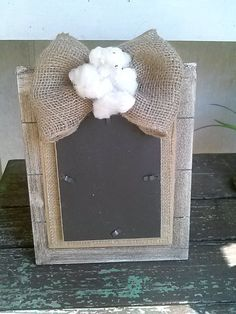 Rustic frame, farmhouse frame, wood frame, burlap bow, cotton bolls, rustic wedding frame on Etsy, $18.00