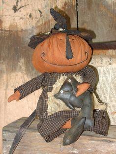 """Prim Raven's Haven """"Olivia Stinky Pumpkin Cat Doll Pattern Uncut Halloween Pumpkins, Fall Halloween, Halloween Crafts, Halloween Decorations, Halloween Sewing, Halloween 2018, Fall Decorations, Halloween Stuff, Halloween Ideas"""