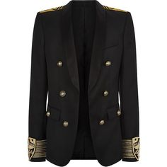 Balmain Military Blazer found on Polyvore featuring polyvore, men's fashion, men's clothing, men's sportcoats, jackets, blazers, outerwear and balmain mens clothing