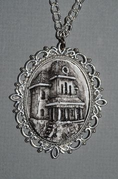 Gothic  Cameo Jewelry  Necklace  Psycho House by Von Erickson Laboratories ,purveyors of all sorts of original gothic spooky jewelry . It's what all the graveyard groupies are wearing this season!