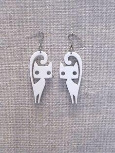 Cute cat earrings laser cut plexiglass Various by muchoshop, $10.00: