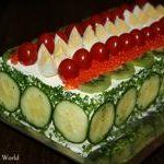 Sandwich Cake With Salmon and Spinach from Maya's World