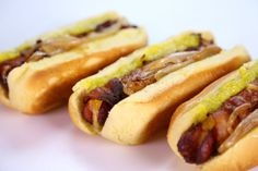 The food that satisfies - oh yum!  the chew | Recipe  | Michael Symon's Bacon Fried Stuffed Hot Dogs