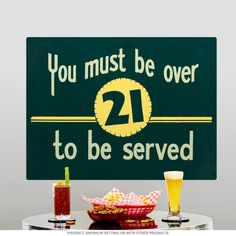 Over 21 Served Bar Wall Decal Removable Wall Sticker