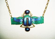 Blue Green SCARAB Necklace BEETLE WINGS Glass Stones Beads Art Deco Revival #kmeartusa
