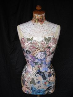 """Stunning female mannequin decorated with collage entitled """"A Vintage Beauty"""". $310.00, via Etsy."""