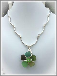 Multi Greens Sea Glass Flora Pendant Necklace, $62.00