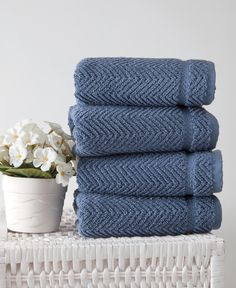 Maui, Chevron, Classic Blues, H&m Home, Hand Towel Sets, Jacquard Weave, Elegant, Luxury, Midnight Blue