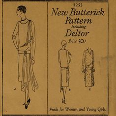 Roaring 20s Gatsby Dress Pattern Butterick 2255 Bust 36 Womens Vintage Sewing Pattern Draped Hip and Shoulder Flapper Pullover Frock UNCUT