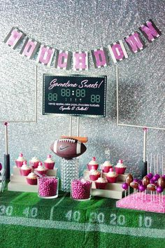 Trend Alert: Girly Football Party Dessert Table