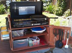 Here is a new approach to the classic camp box or chuck box. I wanted a box that stored all of my cooking gear including my stove, was light enough ...