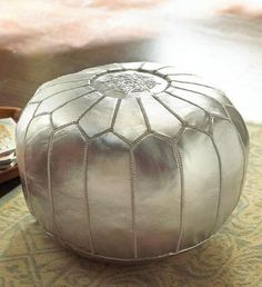 silver leather pouf | by lauratrevey