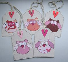 Valentine Owls - Set of five Gift Tags