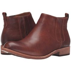 Kork-Ease Velma (Rum/Cognac Full Grain) Women's Pull-on Boots ($190) ❤ liked on Polyvore featuring shoes, boots, ankle booties, cognac booties, cognac boots, bootie boots, low heel boots and short heel booties