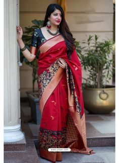 Red Weaved Festive Indian Wear Banarasi Silk Saree With Blouse Piece Cataloge Whatsapp :- 9377709531 Sari Blouse, Saree Dress, Saree Blouse Designs, Sari Design, Art Silk Sarees, Banarasi Sarees, Chiffon Saree, Fancy Sarees, Party Wear Sarees