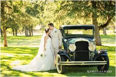 Vintage Yellow Car Wedding Photo Opps Wedding Photos Newlywed