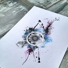 Abstract watercolor mandala with tree and birds #thebunette