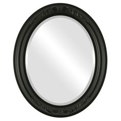 House of Hampton Winfrey Framed Oval Accent Mirror Size: H x W x D, Finish: Matte Black Round Wall Mirror, Wall Mounted Mirror, Beveled Mirror, Black Mirror, Beveled Glass, Framed Mirrors, Mirror Mirror, Mirror Store, Contemporary Frames