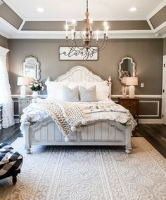 Modern Farmhouse Ideas Stunning Modern Farmhouse Design Ideas What are your thoughts on this gorgeous farmhouse bedroom? 😍🙌 We love how cozy and rustic it feels! 👀 TAG a fri. Master Room, Farmhouse Master Bedroom, Master Bedroom Makeover, Dream Bedroom, Home Decor Bedroom, Modern Farmhouse Decor, Farmhouse Homes, Farmhouse Ideas, Farmhouse Design