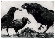 HOARDERS, Raven Series, (raven, bird, coins, crow) etching on paper, 5 inch x 7 inch 2012