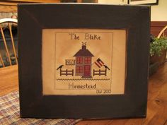 """The Blake Homestead"" Hand drawn and stitched by Yesterday Once More Primitives."