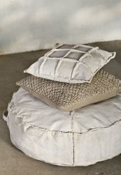 canvas pouf and pillows by the style files