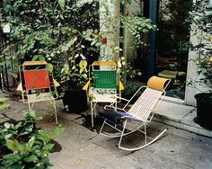 Carolina Castiglioni - Interactive Feature - T Magazine Recycled PVC garden chairs were made by ex-convicts in Colombia Garden Chairs, Garden Furniture, Outdoor Furniture Sets, Furniture Design, Retro Furniture, Wicker Furniture, Outdoor Spaces, Outdoor Chairs, Outdoor Living