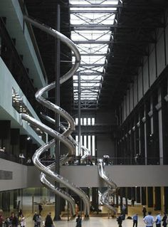 Tate Modern turbine hall with Carsten Holler slide installation. They were great fun.