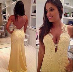 Elegant Lace Halter Open Back Long Chiffon Prom Dresses, Evening Dresses