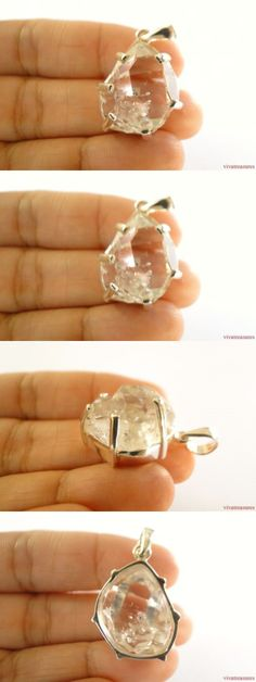 Women Jewelry: Herkimer Diamond Quartz Crystal Solitaire 925 Sterling Silver Pendant -> BUY IT NOW ONLY: $69 on eBay!